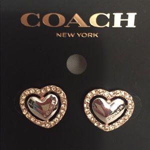Coach Pave Halo Heart Stud Earrings NWT